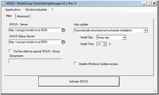 WSUS client setting manager